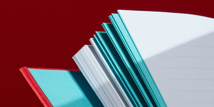 Lined and colored pages in hardcover notebook