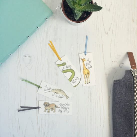 Mini business cards used as bookmarks by Dani Williams