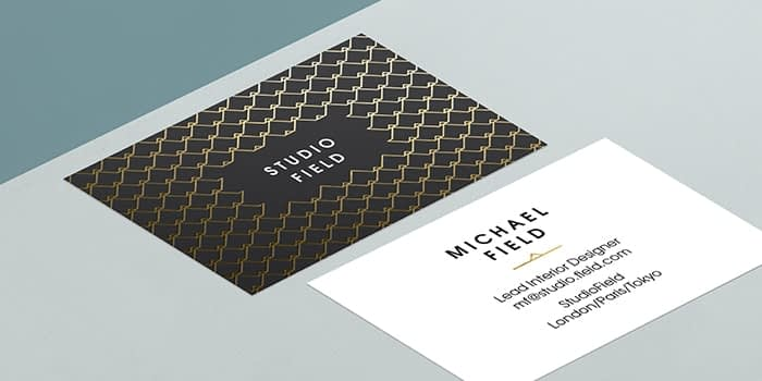 MOO Gold Foil Business Card template with a chain link pattern