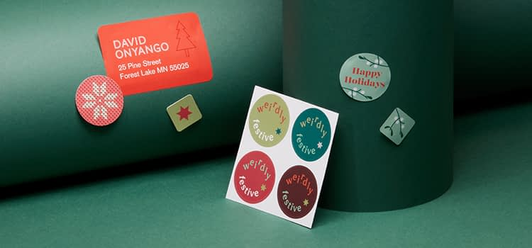 Holiday stickers in various shapes and designs