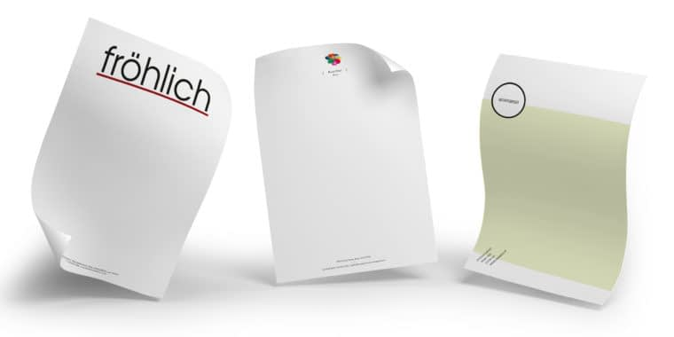 3 sheets of paper with letterhead