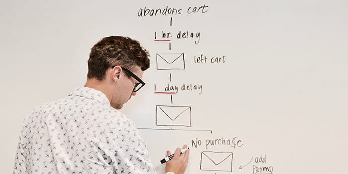 Email marketing manager assessing user journey