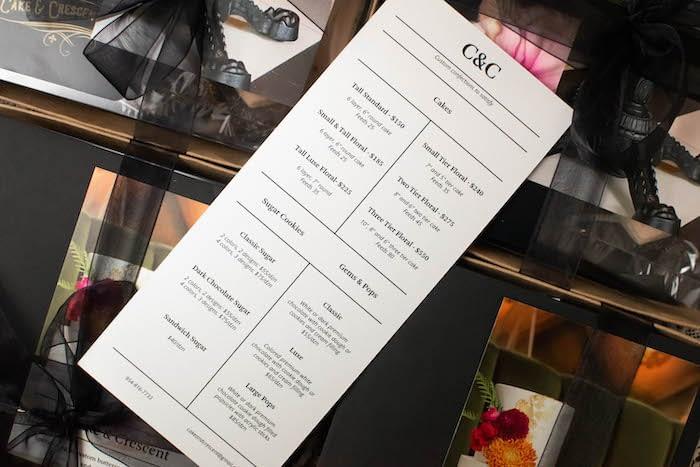 Cake and Crescent menu design