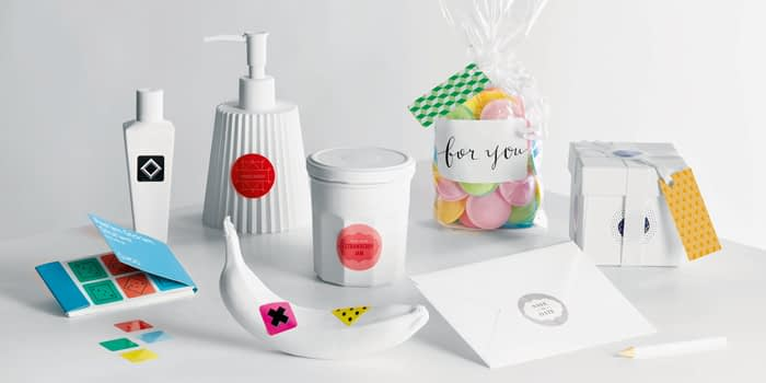 White products covered in stickers