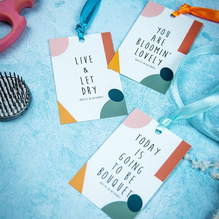 Custom hang tags for flower bouquets by Rooted in Rosemary floral design studio in Oxford