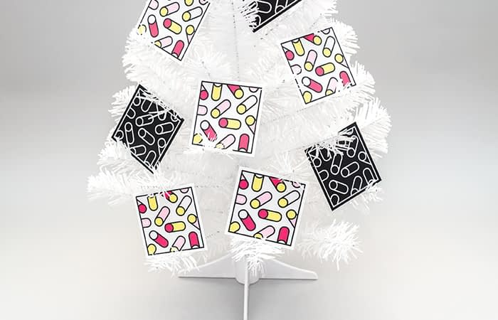 Tim Easley square cards in Christmas tree