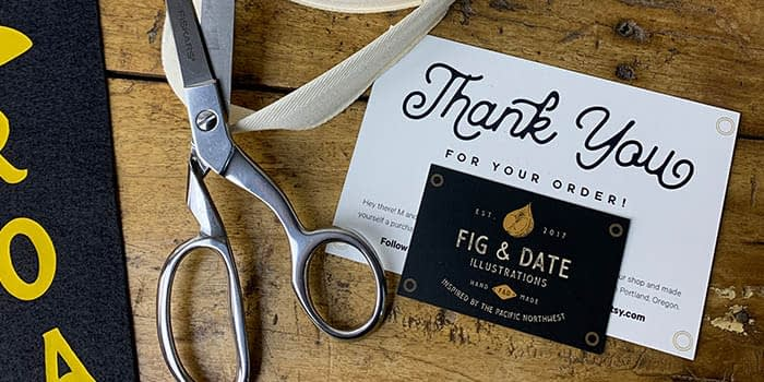 Fig & Date thank you card, business card and scissors
