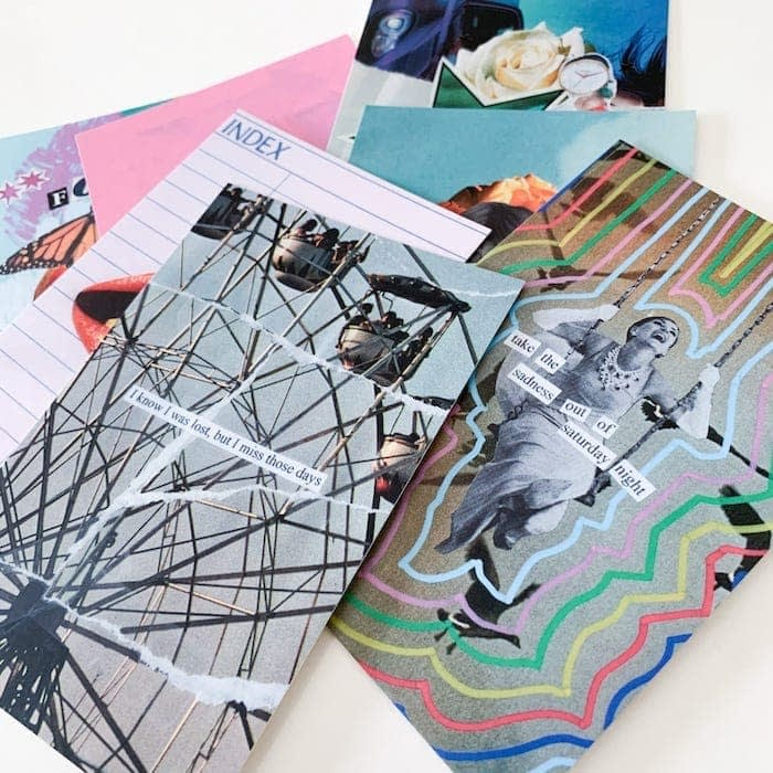 Set of Paper Puso postcards with collage art designs