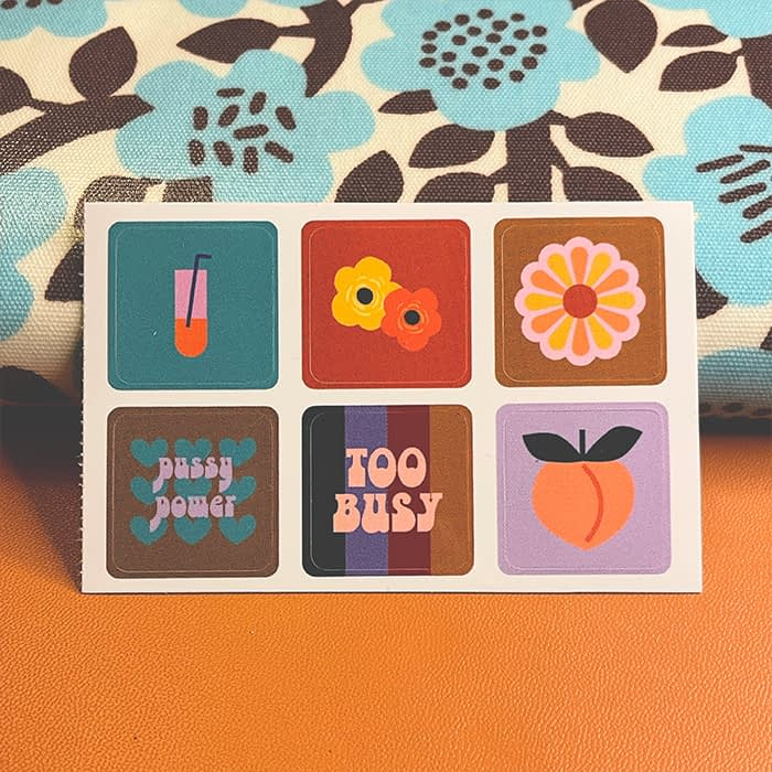 Sad Girl Illustration retro sticker sheet by Amy Leigh
