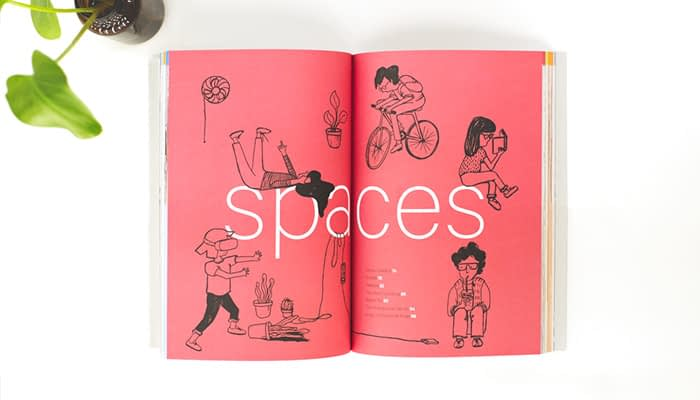 Startup guide open to Spaces page