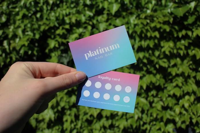 Emily Bourke loyalty card design for Platinum Nails