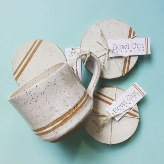 Bowl Cut Ceramics with minicards used as product tags