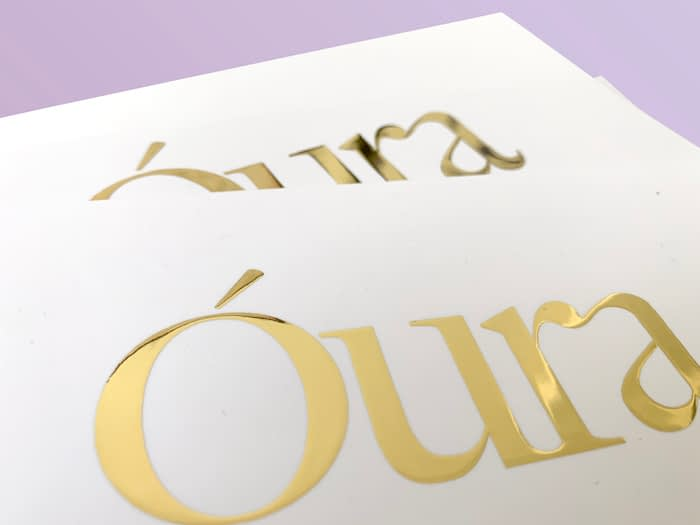Óura gold foil cards by MOO