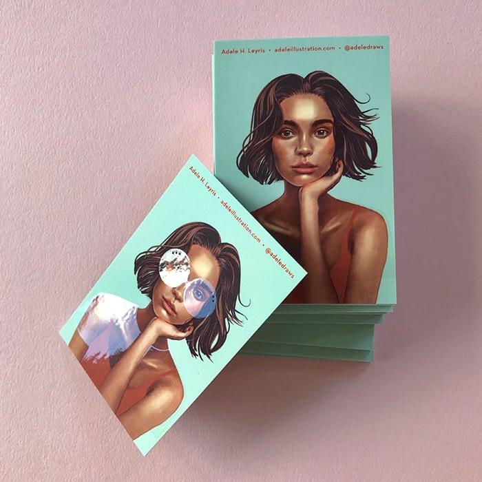 Adele Leyris spot UV business cards with portrait